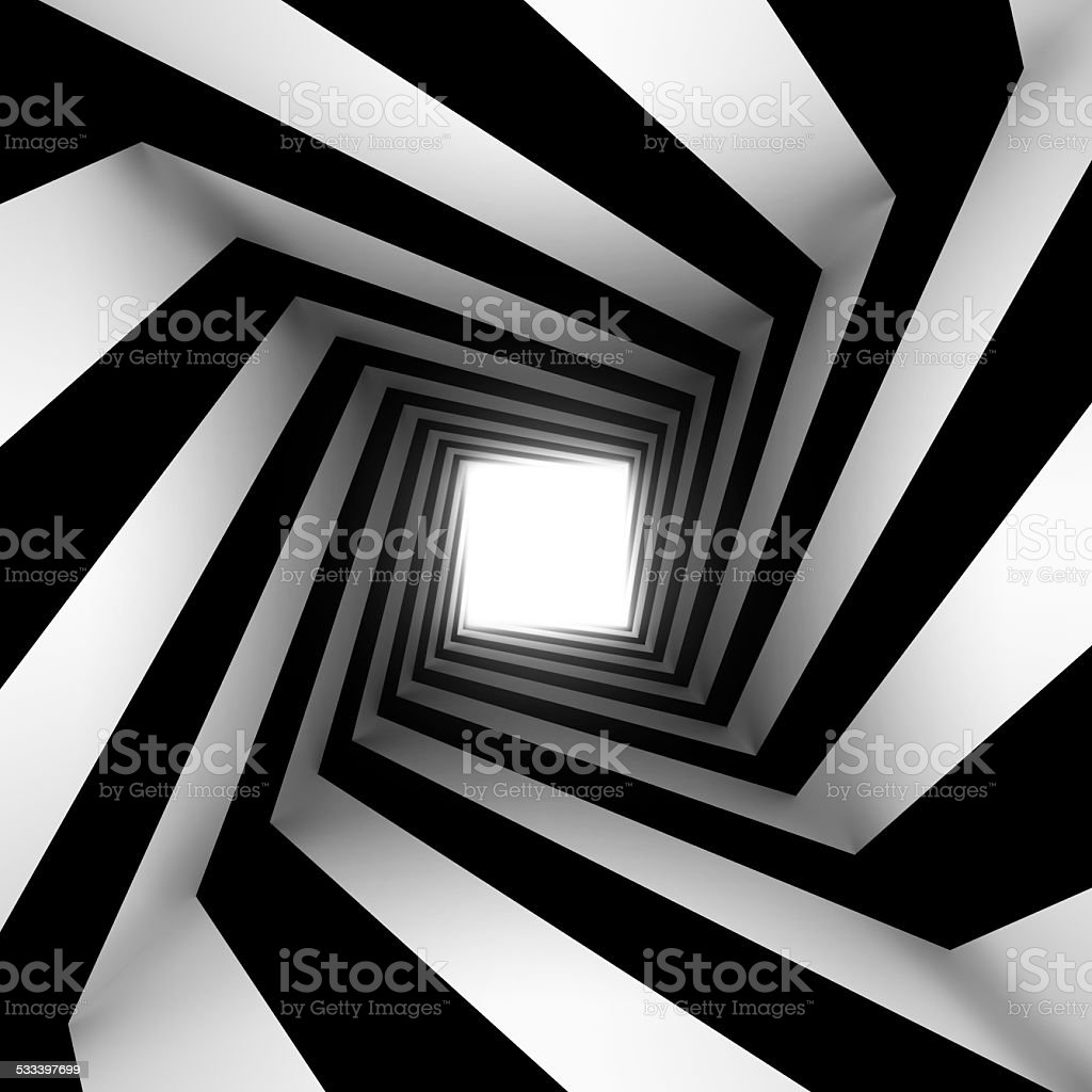 black and white square spiral stock photo
