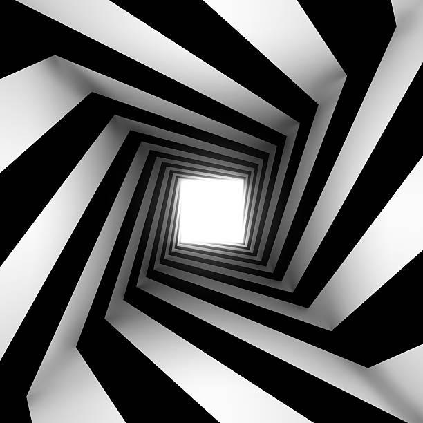 blanco y negro cuadrado en espiral - hélice forma geométrica fotografías e imágenes de stock
