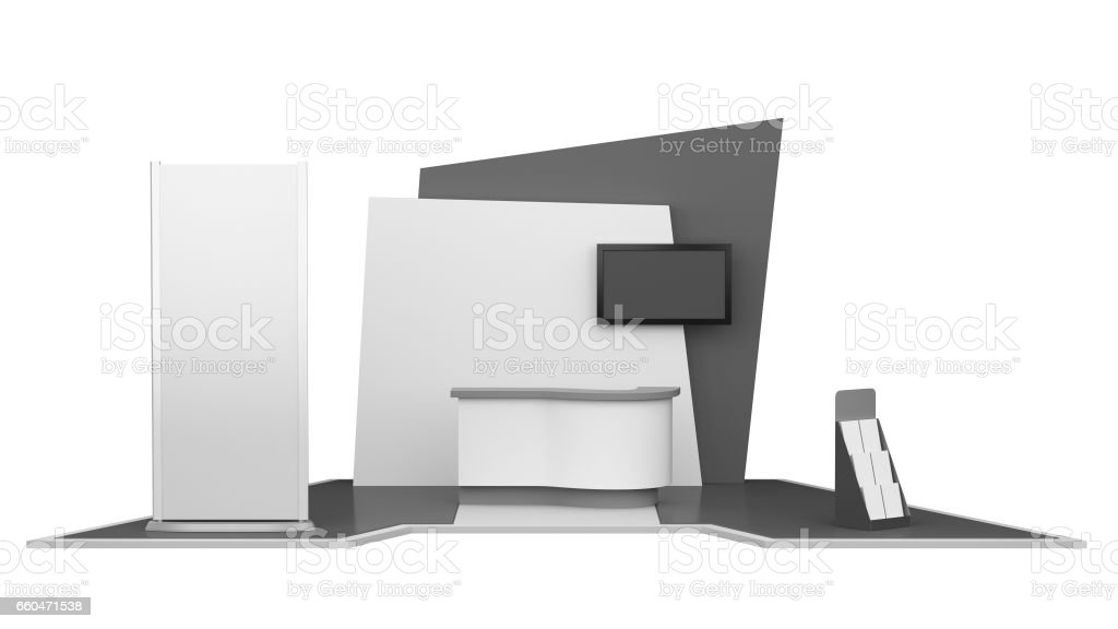 Black and white stand or kiosk stock photo