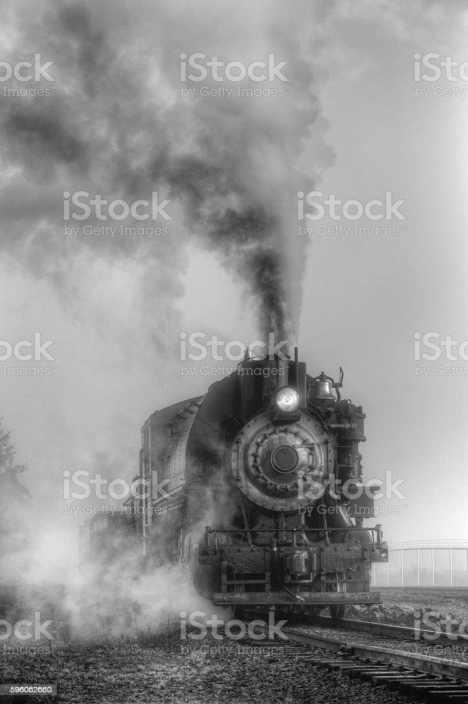 Black and white steam locomotive stock photo