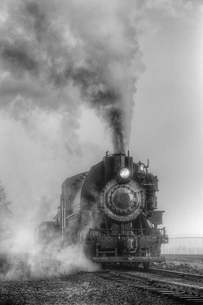 Black and white steam locomotive stock photo