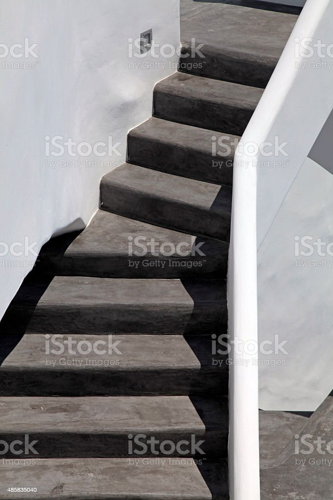 black and white steps in Oia, Santorini island, Greece stock photo