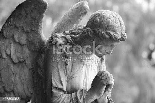 istock Black and white stone angel 497800963