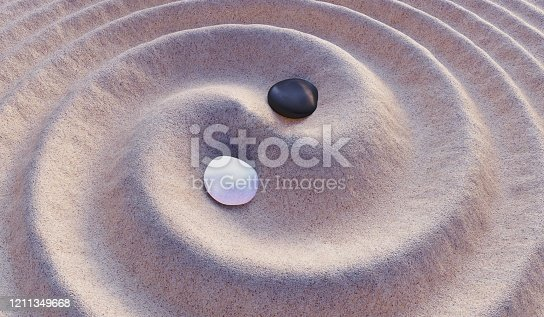 istock Black and white stones in sand. Yin-Yang symbol. 3D rendered illustration. 1211349668