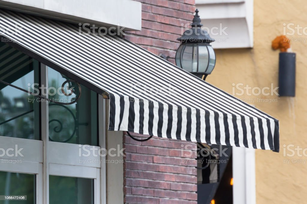 Black And White Striped Awning Shading Canvas Stock Photo Download Image Now Istock