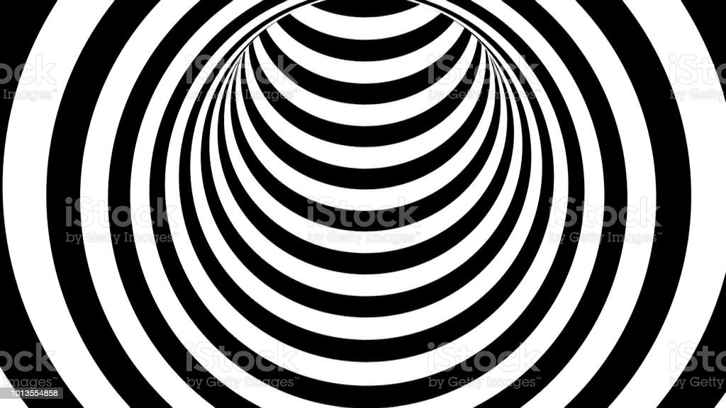 Black and white striped tunnel, psychedelic abstraction, 3d rendering computer generation backgorund stock photo