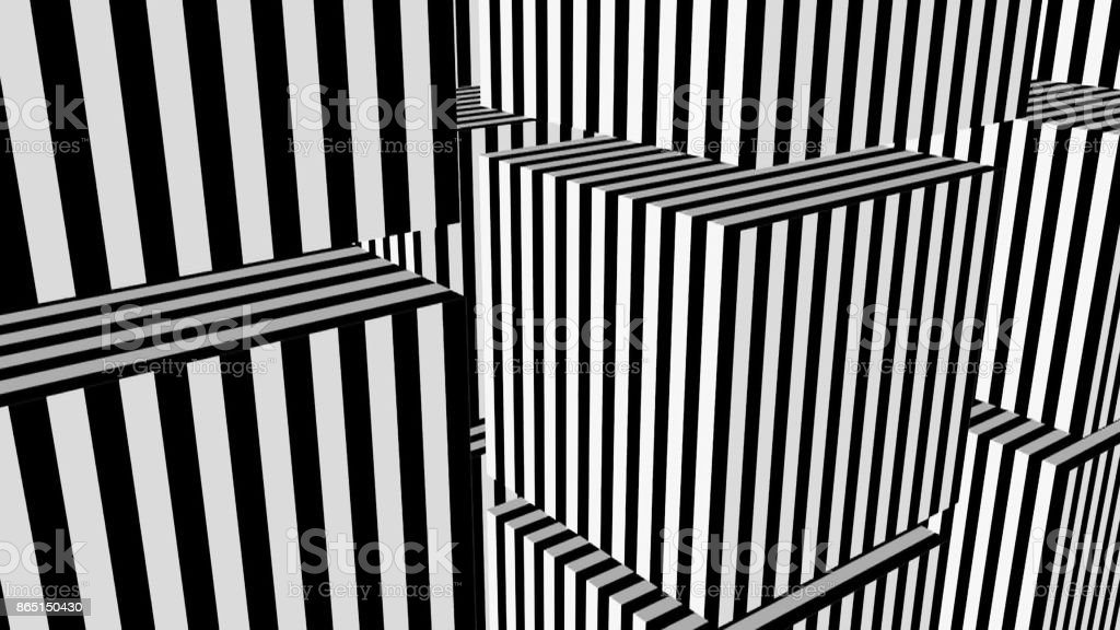 Black and white stripes formation cubes stock photo