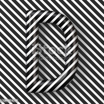 583978154 istock photo Black and white stripes Letter D 3D 1061914270