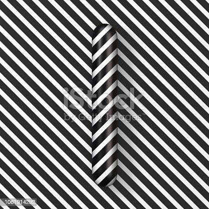 istock Black and white stripes Letter I 3D 1061914292