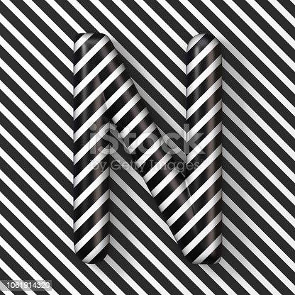 583978454istockphoto Black and white stripes Letter N 3D 1061914320