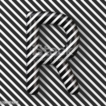 583978558istockphoto Black and white stripes Letter R 3D 1061914376