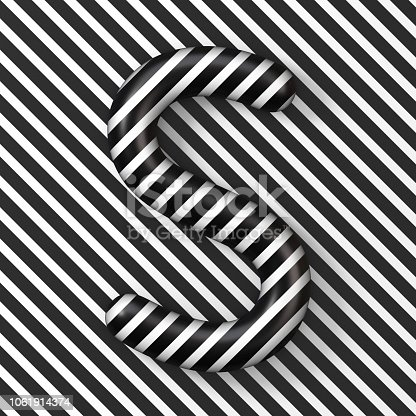 istock Black and white stripes Letter S 3D 1061914374
