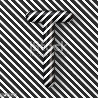 583978622 istock photo Black and white stripes Letter T 3D 1061914424