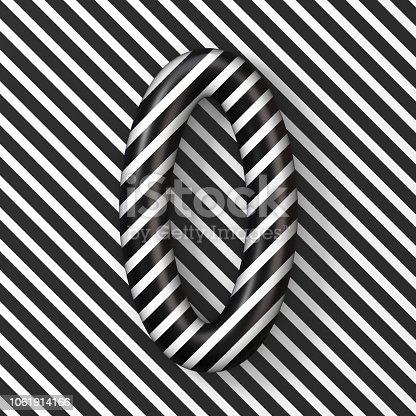 845307368 istock photo Black and white stripes Number 0 ZERO 3D 1061914166