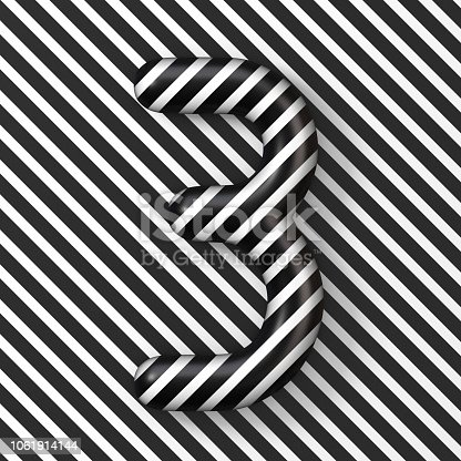 istock Black and white stripes Number 3 THREE 3D 1061914144