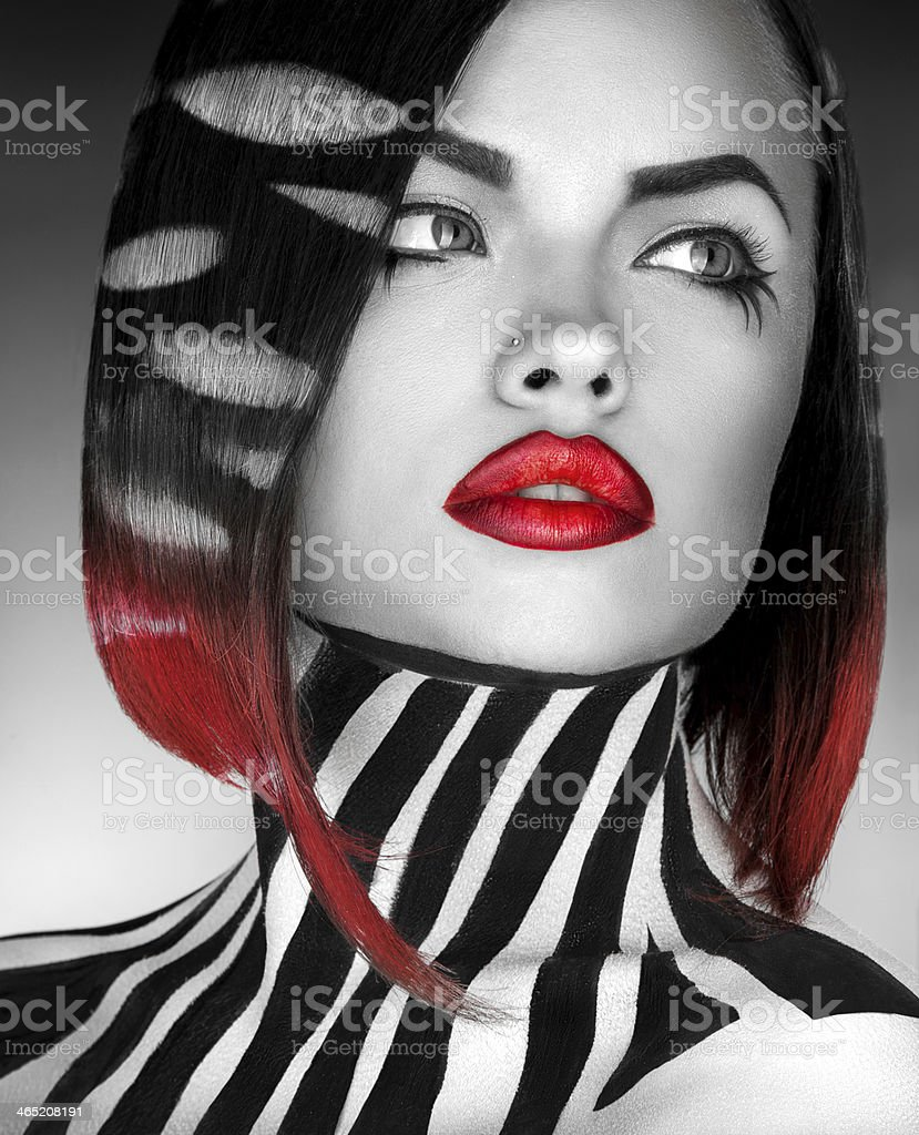 black and white Studio photo of fashion model with stripes stock photo