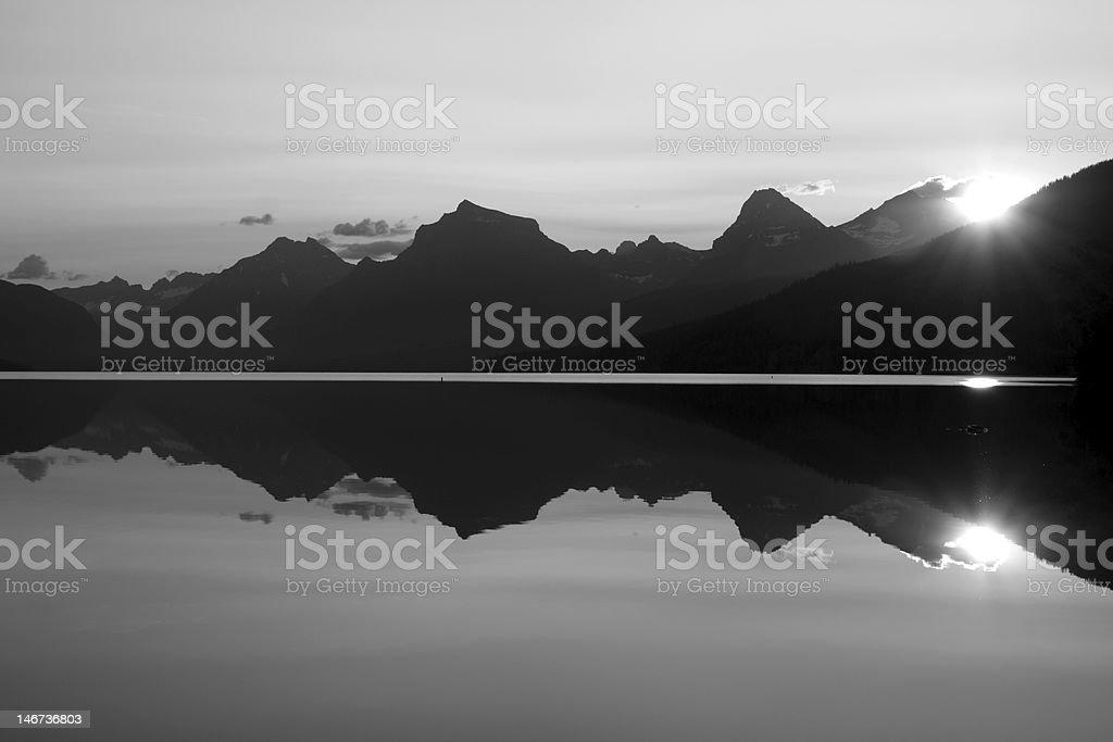 Black and White Sunrise in Glacier royalty-free stock photo