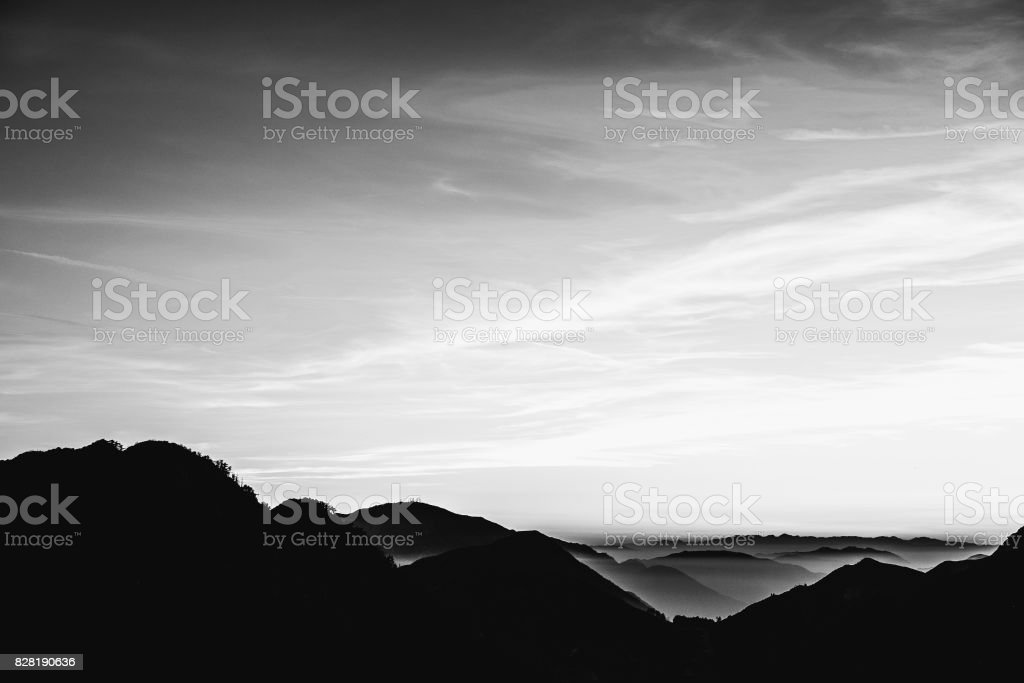 ef6b5f1e3439 Black and white - sunset in Angeles National Forest royalty-free stock photo