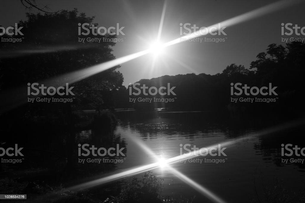 Black and White Sunset stock photo