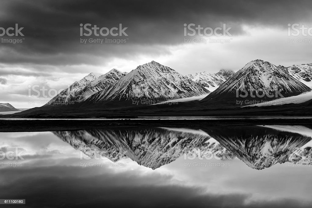 Black and White Svalbard Landscape stock photo