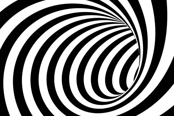 Black and White Swirling Lines Tunnel Abstract Background stock photo
