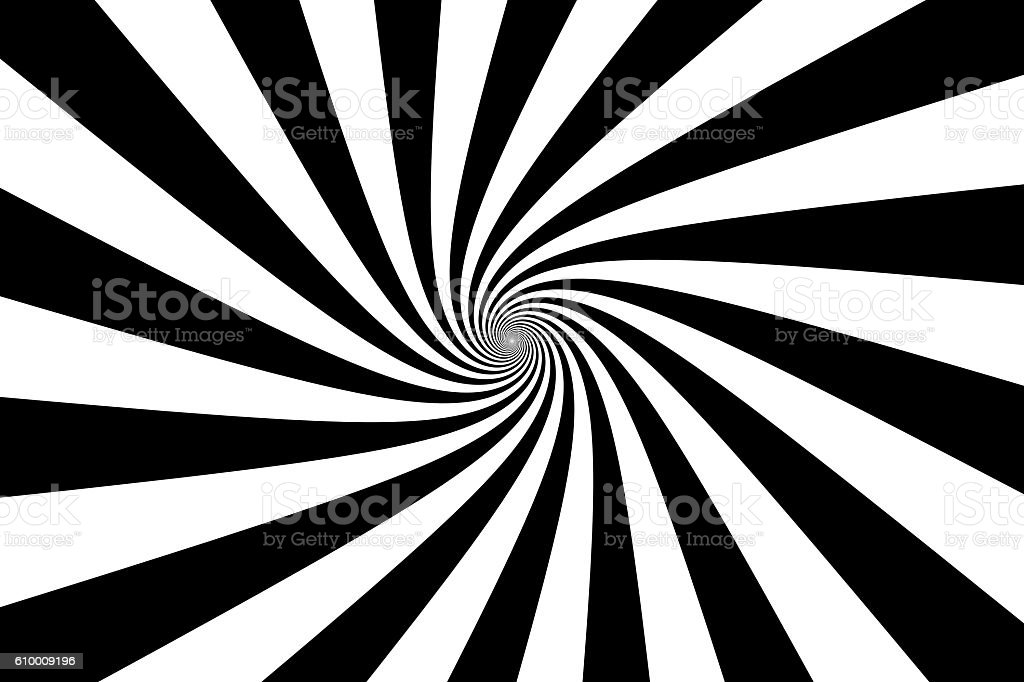 Black and White Swirling Lines Vortex Psychedelic Background stock photo
