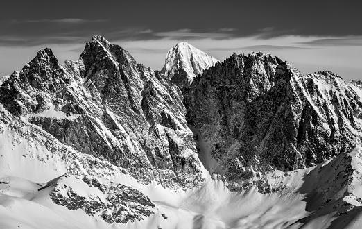 Black and white Swiss alps scenery