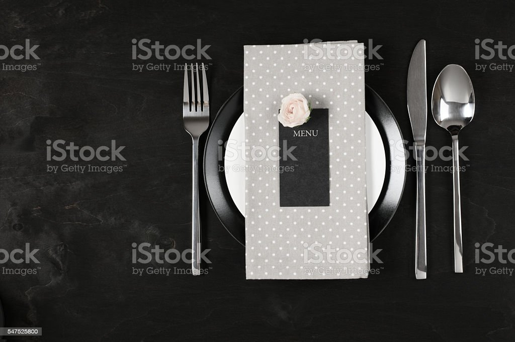 Black and white table setting stock photo