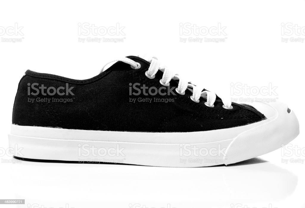 Black and White Tennis Shoe stock photo