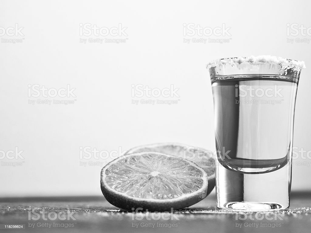 Black and white tequila royalty-free stock photo