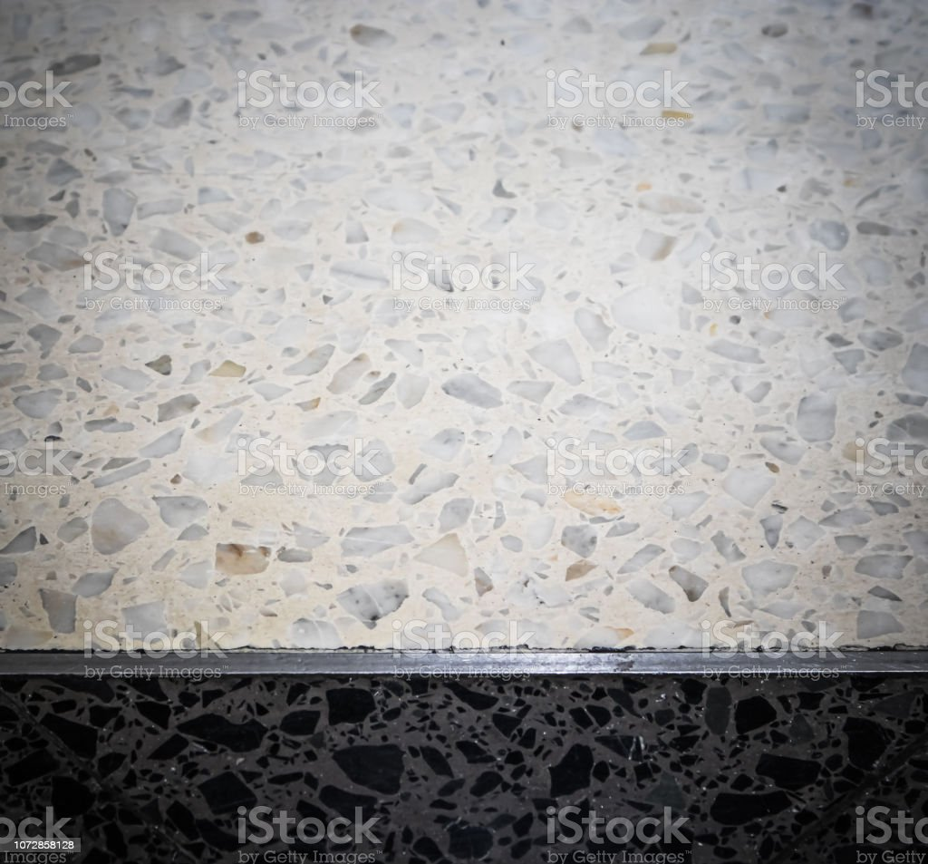 Black And White Terrazzo Floors Pattern Backgrounds Stock