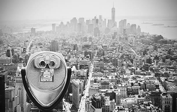Black and white toned binoculars over Manhattan, NYC. stock photo