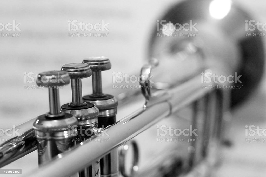 Black And White Trumpet With Out Of Focus Sheet Music Stock