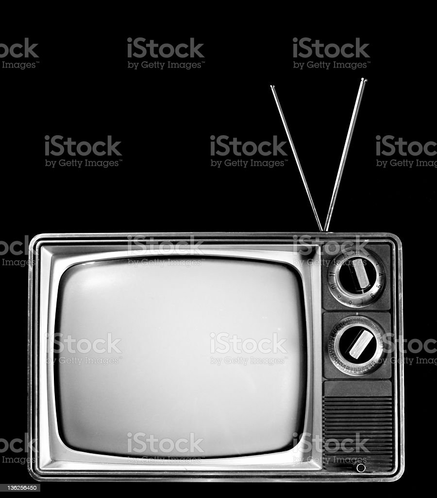 black and white TV stock photo