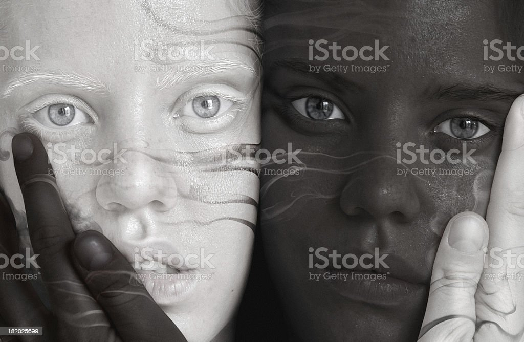 black and white twins stock photo