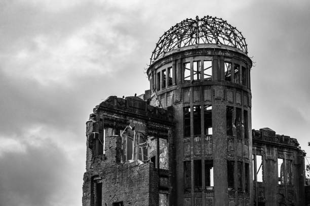 Black and white view of A-Bomb Dome or Genbaku Dome at Hiroshima Peace Memorial Park, UNESCO World Heritage Site, Japan stock photo