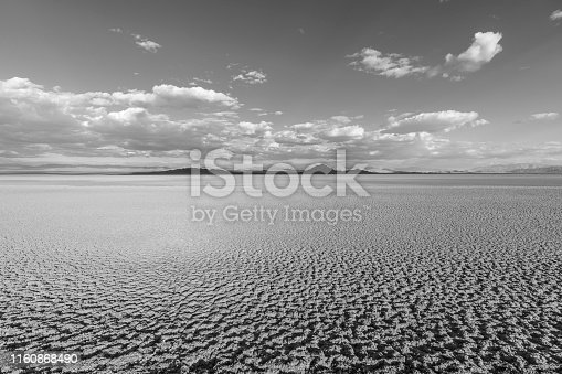 Black and white view of Soda dry lake in the Mojave desert near Baker, California.