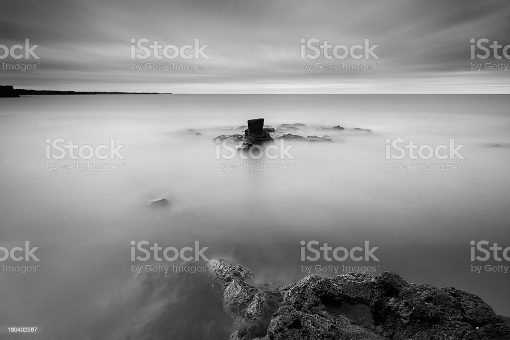 Black and white view of the rocky beach in Iceland stock photo