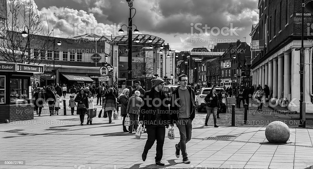 Black and White view of Uxbridge Town in Greater London stock photo