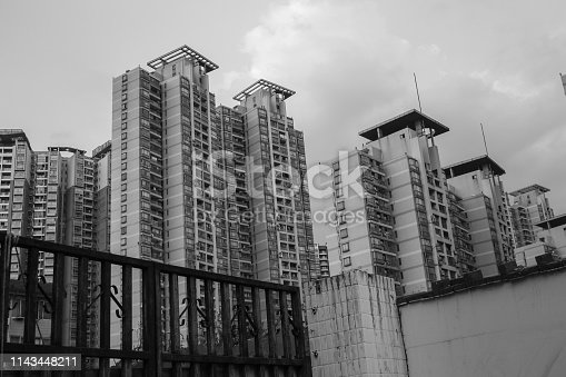 Black and white view on a district with numerous apartment towers in Tianjin, China