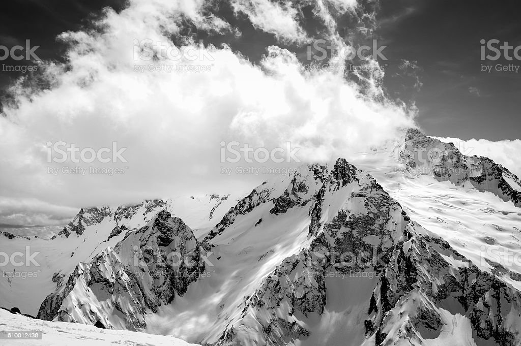 Black and white view on ski resort in snow winter stock photo