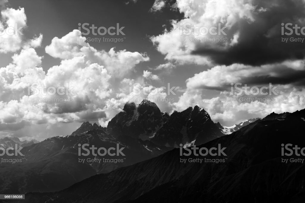 Black and white view on summer mounts at evening - Royalty-free Beauty Stock Photo