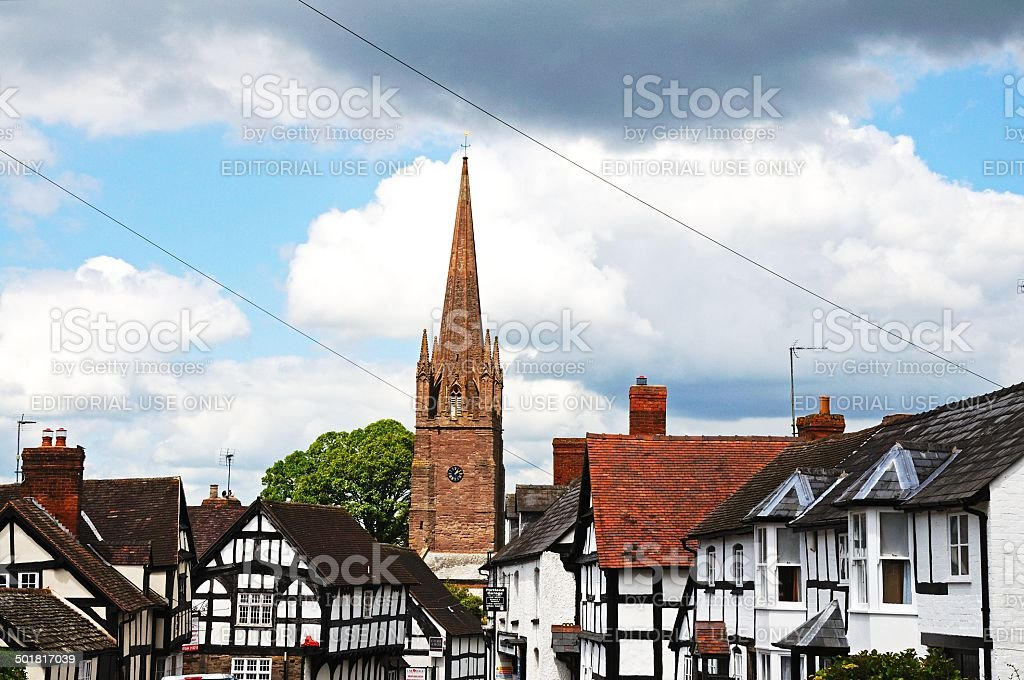Black and white village, Weobley. stock photo