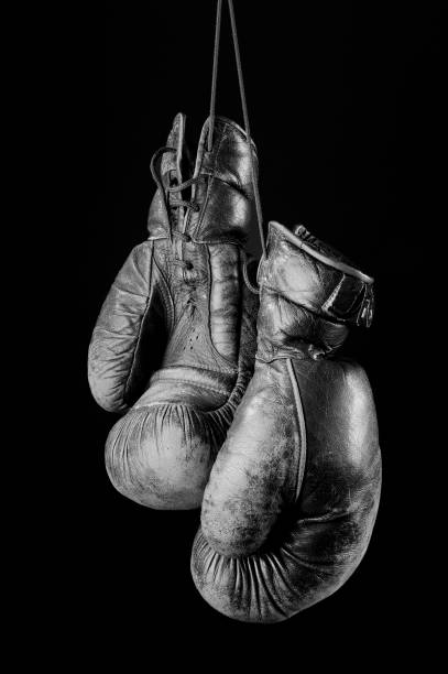 Black and white Vintage boxing gloves stock photo