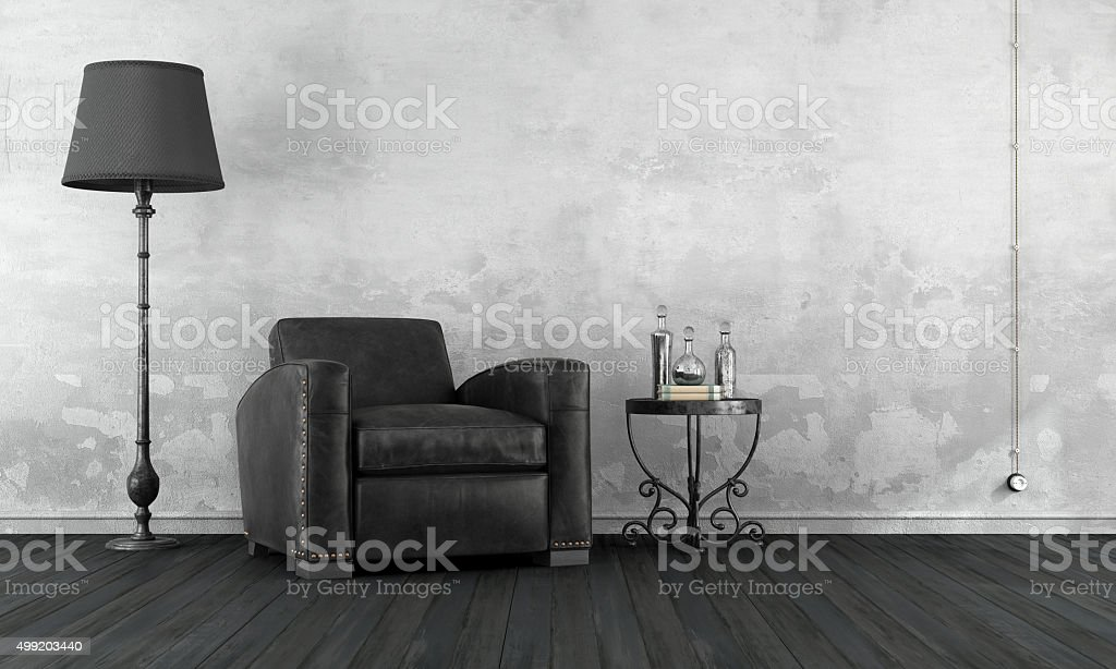 Black and white vintage room stock photo
