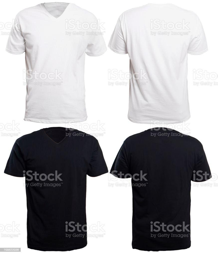 Black and White V-Neck Shirt Mock up stock photo