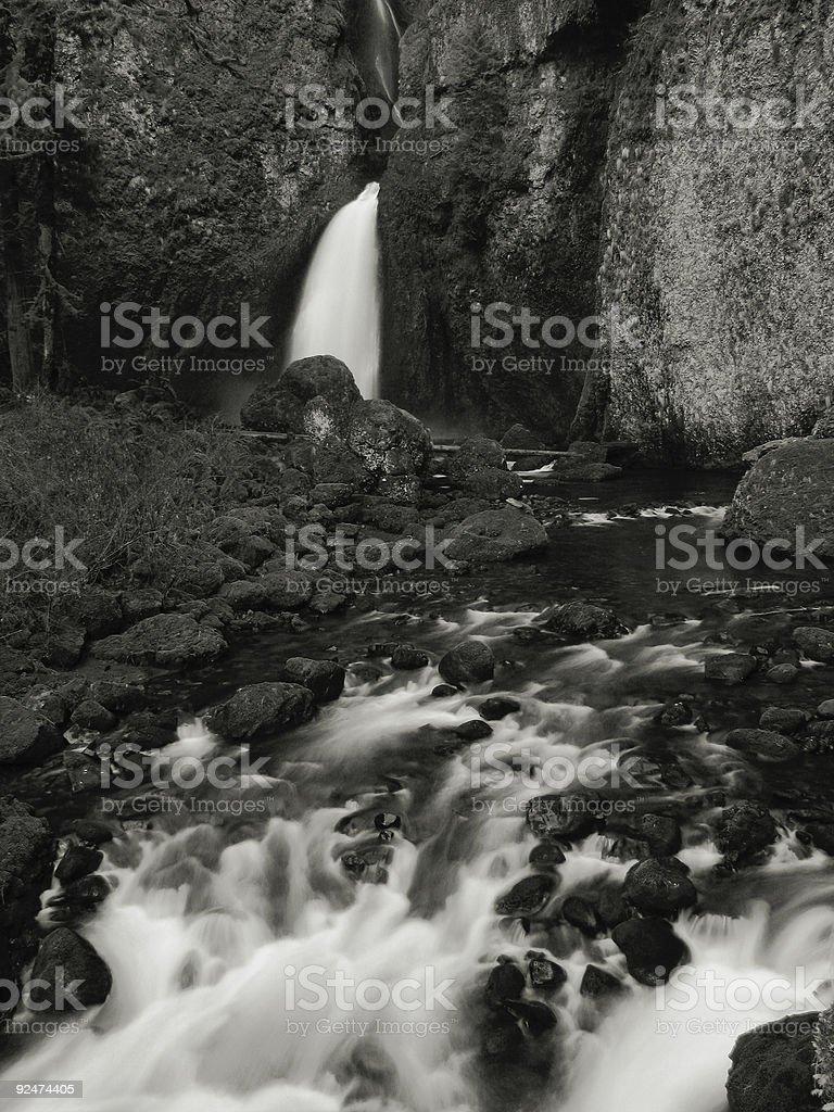 Black and White Wahclella Falls royalty-free stock photo