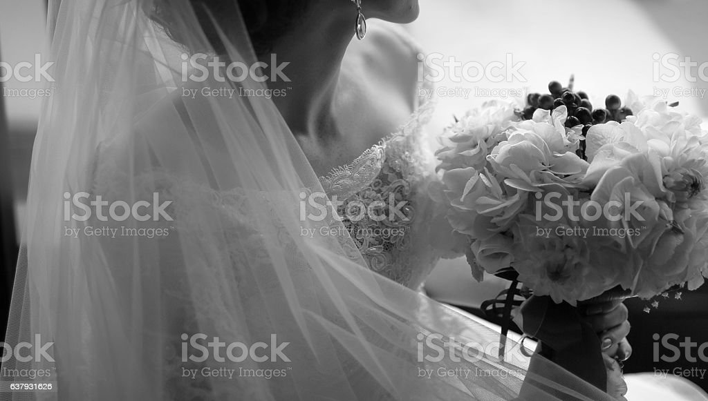 Black and white wedding picture. stock photo