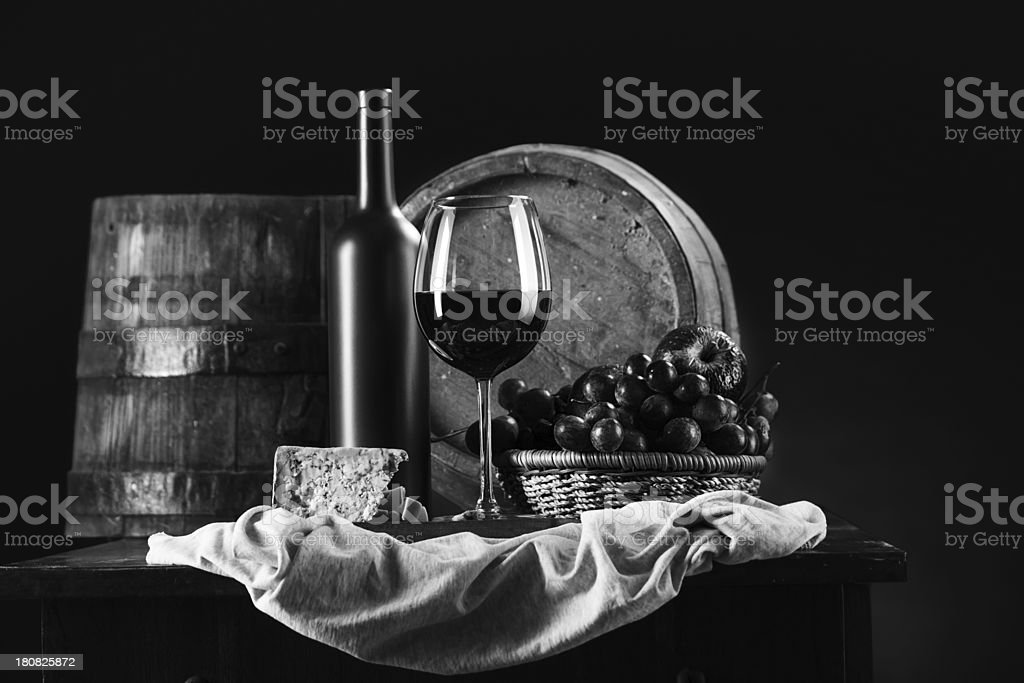Black and white  wine composition royalty-free stock photo