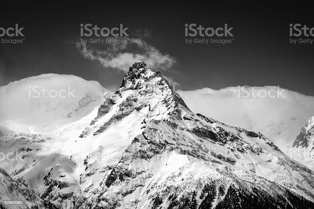 Black and white winter mountains stock photo